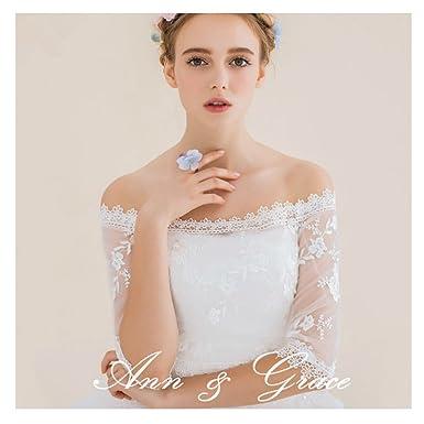 Off-Shoulder Wedding Lace Bolero Jacket, Ivory Bridal Lace Top Cover ...