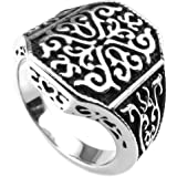 Konov Jewellery Mens Stainless Steel Ring, Classic Gothic, Color Black Silver (with Gift Bag)