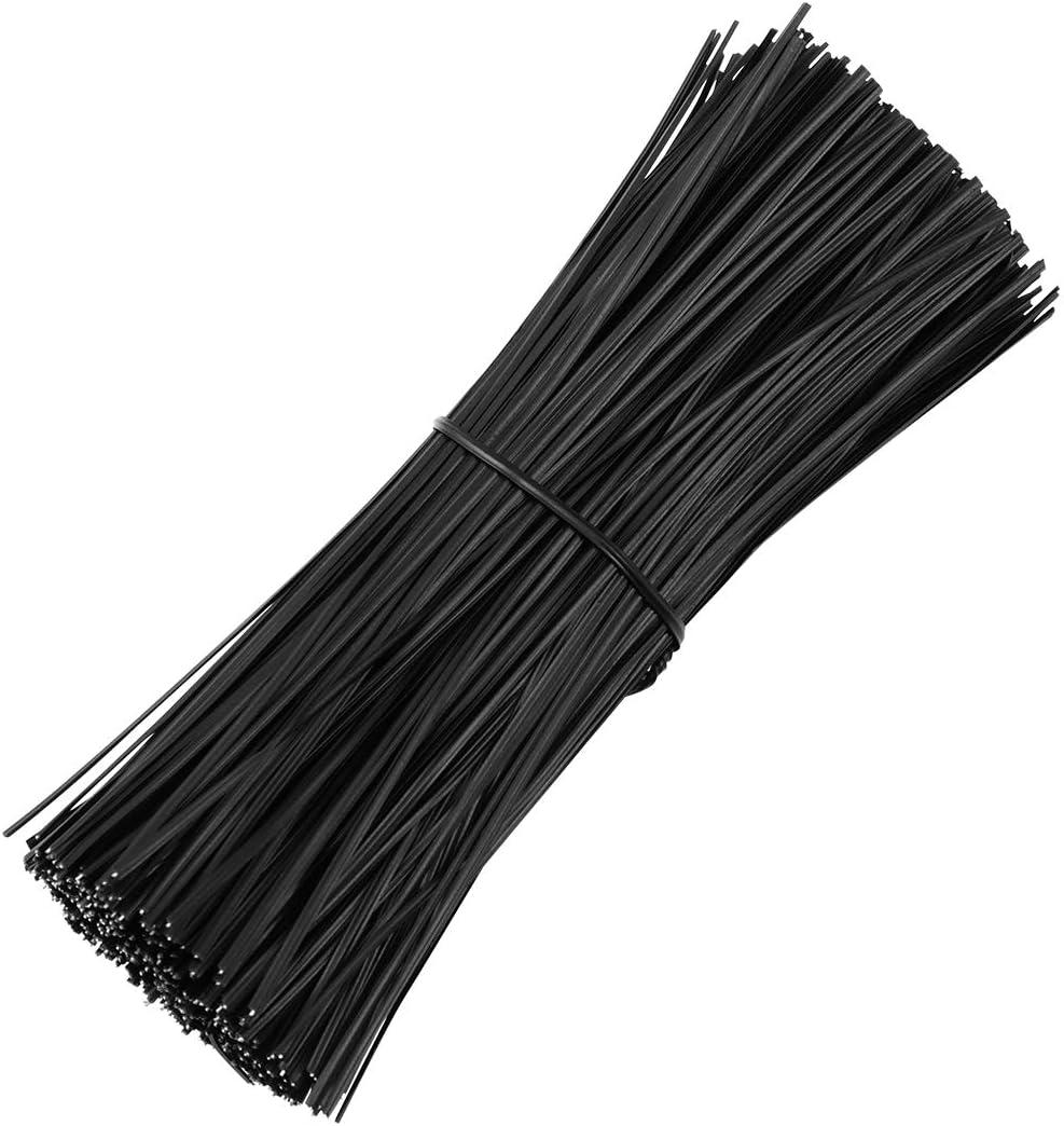 OUNONA - Cintas de alambre de hierro plastificado,15 cm, para atar cables, cerrar y organizar, color negro, 500 unidades