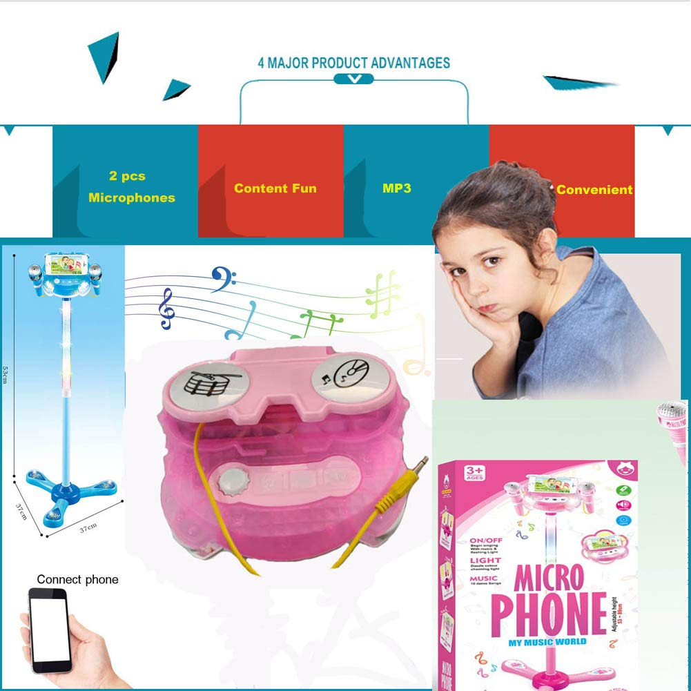Elrido Kids Karaoke Machine with 2 Microphones and Adjustable Stand, Karaoke Machine Compatible with Cell Phone/MP3,Music Sing Along with Touch Button for Fun Musical Effects (Pink) by Elrido (Image #4)