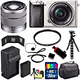Sony Alpha a6000 Mirrorless Digital Camera with 16-50mm Lens (Silver) + Sony SEL 1855 18-55mm Zoom Lens + 32GB Bundle 11 - International Version (No Warranty)