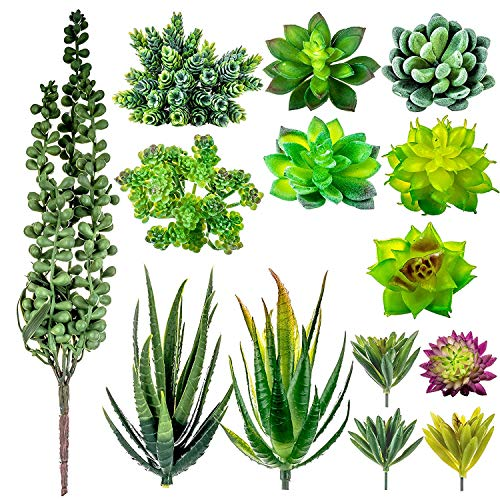 14 Piece – Small Artificial Succulent Plants Mini Fake Faux Plastic Succulents Cactus – Great For Shelf Kitchen Counter Office Mantle Decoration Accessories Rustic Home Look – Comes As Unpotted Plant
