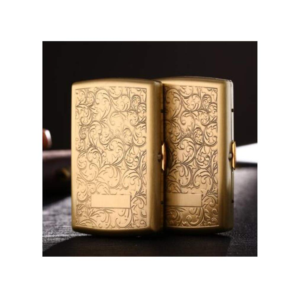 XIONGHAIZI Cigarette Case, Ultra-Thin Portable Brass Cigarette Case, 12-Piece, Metal-Engraved Copper Personality Creative Male Cigarette Holder, Cigarette Box (Size : 12 Packs)