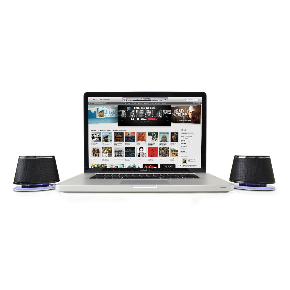 Satechi Dual Sonic Speaker 2.0 Channel Computer Speakers for iMac, 2015 MacBook Pro, MacBook Air, Dell, HP XPS, Sony, Samsung, Asus and more (Black) by Satechi (Image #4)