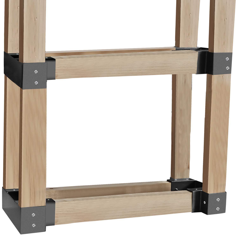 Urban Deco 4 Pack Gray Outdoor Firewood Log Rack Bracket Kit, Firewood Storage Holder Adjustable Length 011Rack-4PK Gray