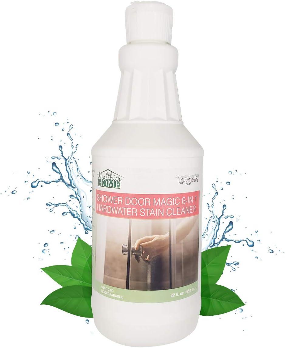 Removedor de manchas de agua duras: limpiador de gel de baño Chomp con escudo de escoria para vidrio, puerta de fibra de vidrio para eliminar manchas de agua dura, escoria de jabón,