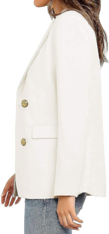 Vetinee Womens Lapel Pocket Blazer Suit Long Sleeve Buttons Work Office Jacket
