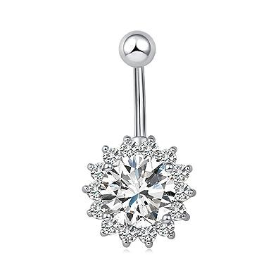 Bodya 5 Belly Button Ring Bar Rhinestone Crystal Jeweled Flower Big Gems Center Diamond Navel Barbell Stainless Steel Body Piercing Jewelry