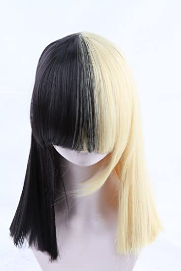 Cool2day Ladies Wigs Short Blonde Black Straight Wig Sia Cosplay Costume Party Free Cap