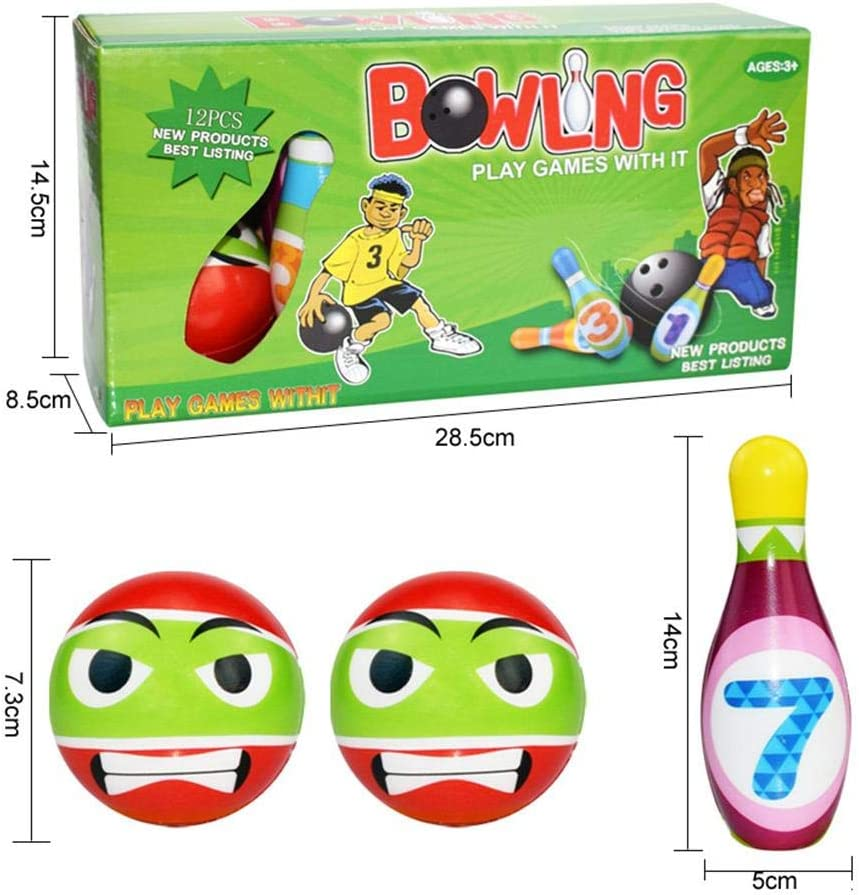 Kids Bowling Set Toddlers Educational Toys 10 Indoor Colorful Soft Foam Pins 2 Bowling Balls Printed with Number Developmental Toys Sport Gift for Baby Boys Girls Age 3//4//5//6 Years