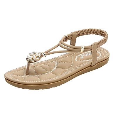 GONKOMA Women s Flat Sandals Crystal Pearl Sandals Shoes Casual Floral Flip  Flops Low Heels Sandals Beige