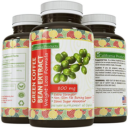 100% Pure Green Coffee Bean Extract  Highest Quality 800 Mg  Best Formula for Weight Loss on the Market - Women & Men  Guaranteed By California Products