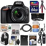Nikon D5600 Wi-Fi Digital SLR Camera & 18-140mm VR DX AF-S Lens with 64GB Card + Backpack + Battery + Tripod + 3 Filters + Remote Kit