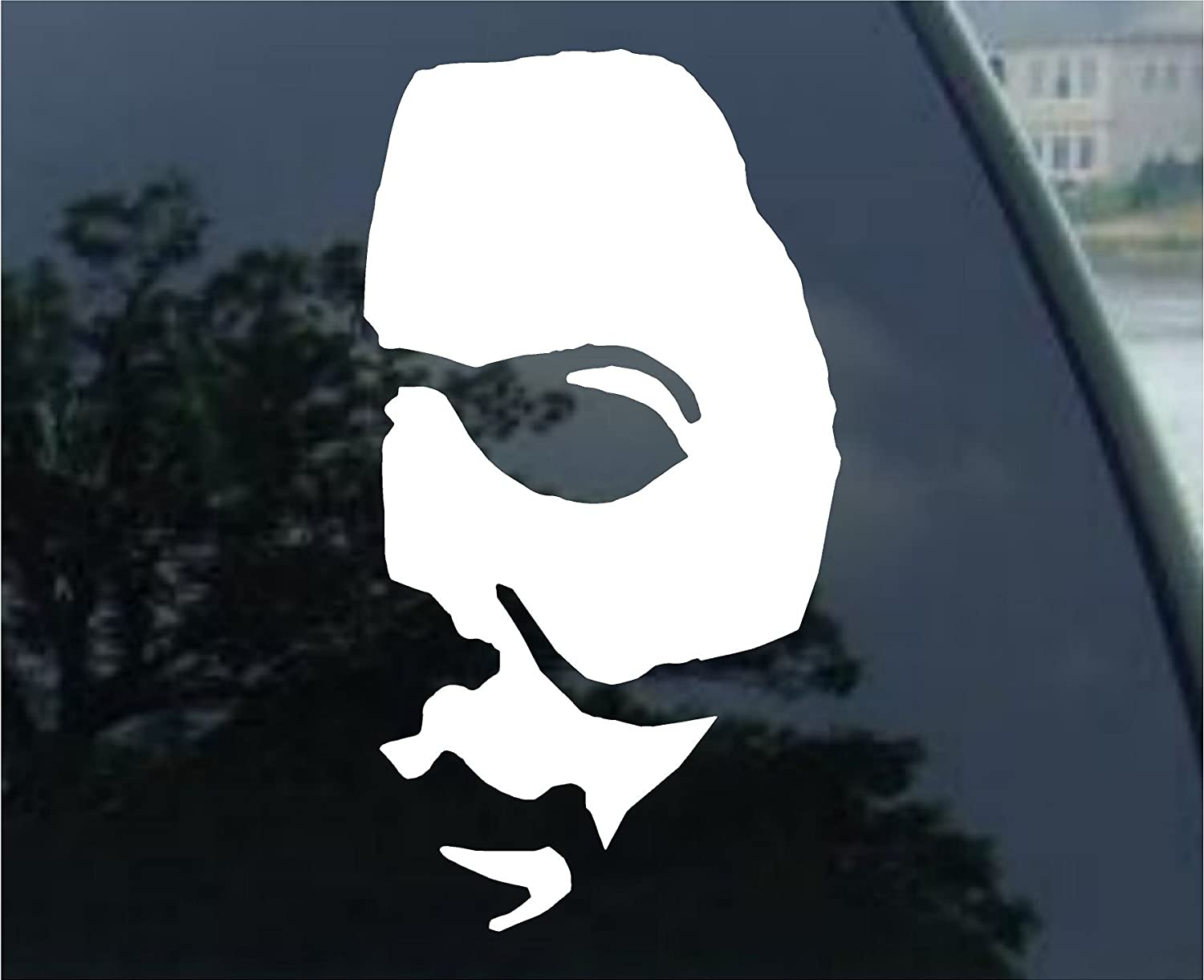 Crawford Graphix Michael Myers Creepy Half Face 11 White Decal Scary Horror Movies Awesome Fun Cool Creepy Halloween Sticker