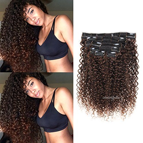 16inch Jerry Curly Clip in Hair Extensions Human Hair Double Weft Top Grade 7A Brazilian unprocessed Virgin Hair Clip ins Dark Brown Hair Extensions Curly 7Pcs/lot,140Gram/Set