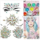 Treasure-House 3 Sheets Face & Breast Mermaid Rhinestones Sticker Gem with 3 Boxes Holographic Chunky Glitter Ultra-thin Colorful Mixed Paillette - Festival Rave Party Jewel Tattoo Set