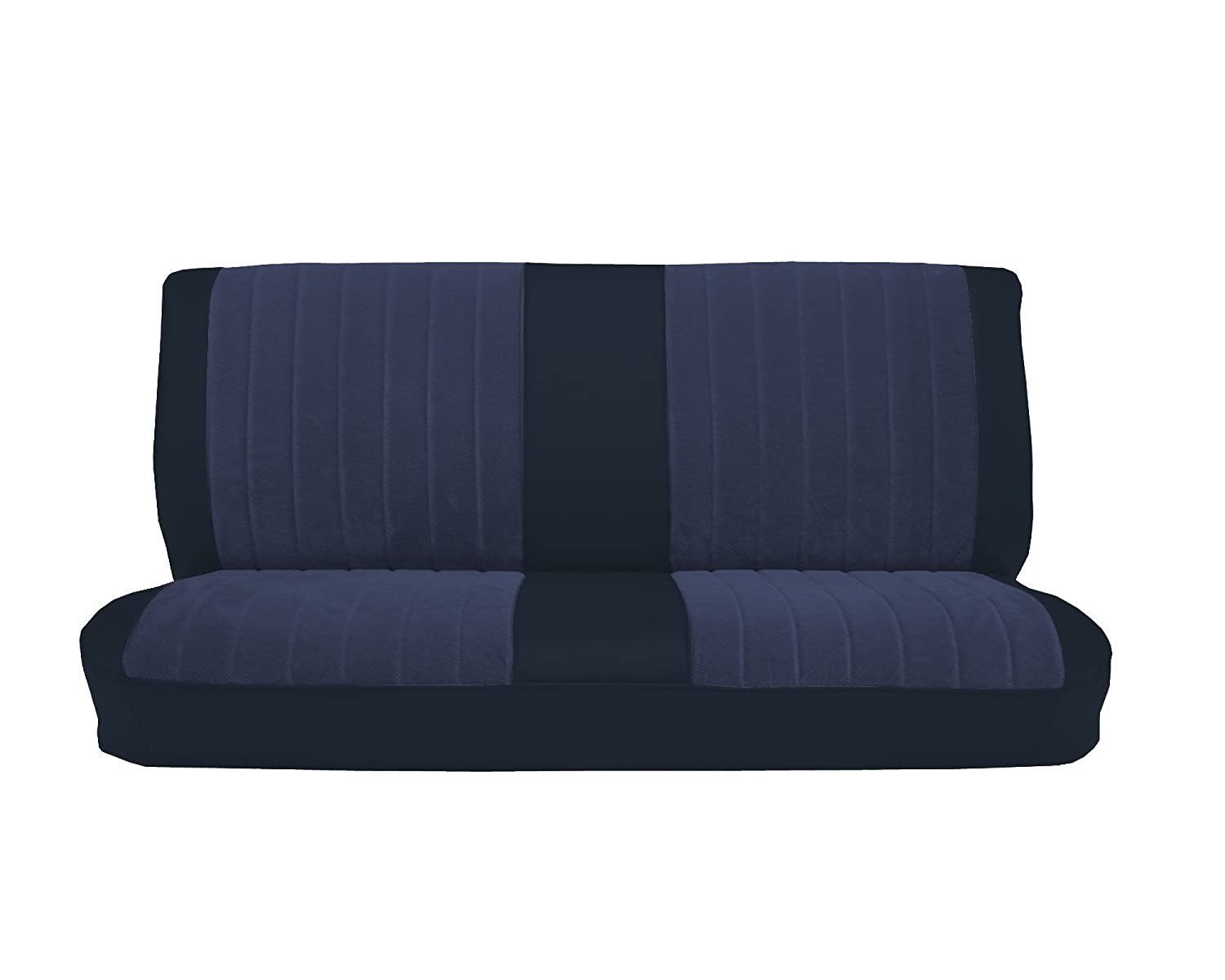 Acme U1001-015M Front Navy Blue Vinyl Bench Seat Upholstery with Blue Regal Velour Pleated Inserts