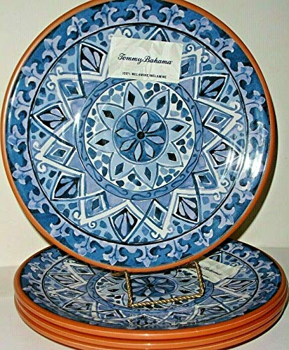 - Tommy Bahama Spanish Blue Floral Medallion Melamine 4 Dinner Plates Scroll