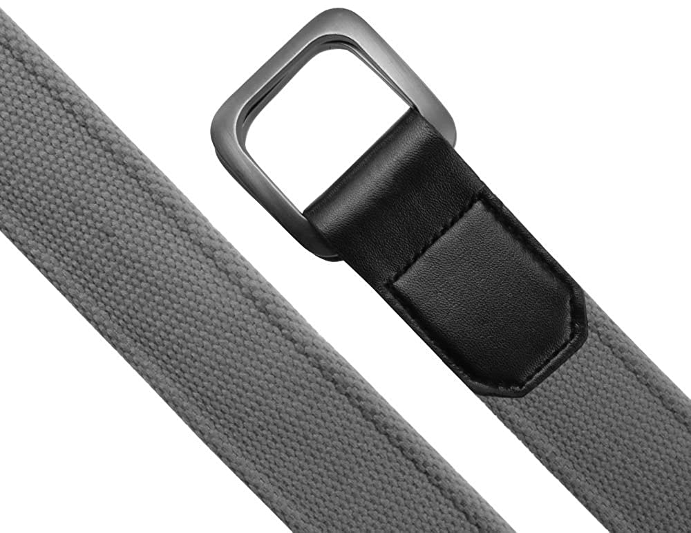 Mens Canvas Belt Grey Double D Ring Buckle Womens No Hole Easy To Use Medium Size