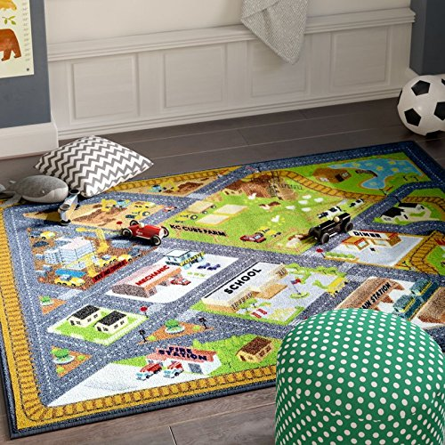 KC Cubs Playtime Collection Country Farm Road Map with Construction Site Educational Learning Area Rug Carpet for Kids and Children Bedroom and Playroom (3' 3'' x 4' 7'') by Kev & Cooper (Image #8)