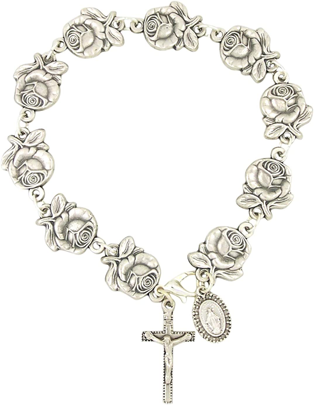 8 Inches Long Silver Tone Metal Rosebud Design Catholic One Decade Rosary Bracelet with Miraculous Medal Back Design and Charm and Crucifix Cross Pendant