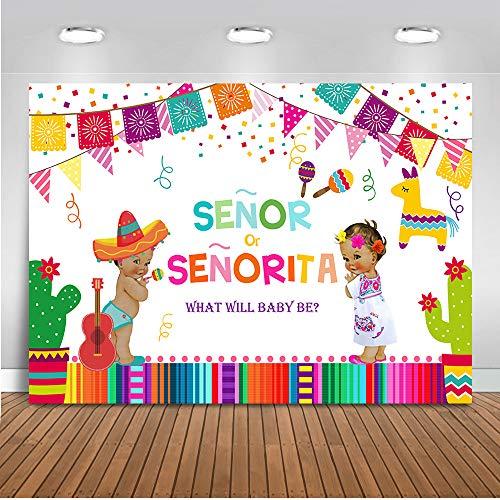 Mehofoto Mexican Fiesta Gender Reveal Baby Shower Backdrop Senor or Senorita Background 7x5ft Vinyl Fiesta Gender Reveal Baby Shower Party Banner Supplies -
