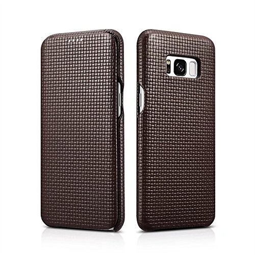 Galaxy S8 Plus Case,Mangix Premium Brocade Genuine Leather Wallet Case with Curve Edge Flip Style, Vintage Folio Cover for Samsung Galaxy S8 Plus 6.2 inch (Coffee) ()