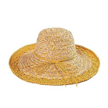 Yisaesa Sombrero de Paja de Verano para Mujer Sombrero de Playa de ala  Grande Sombreros Flexibles df26cf8453f