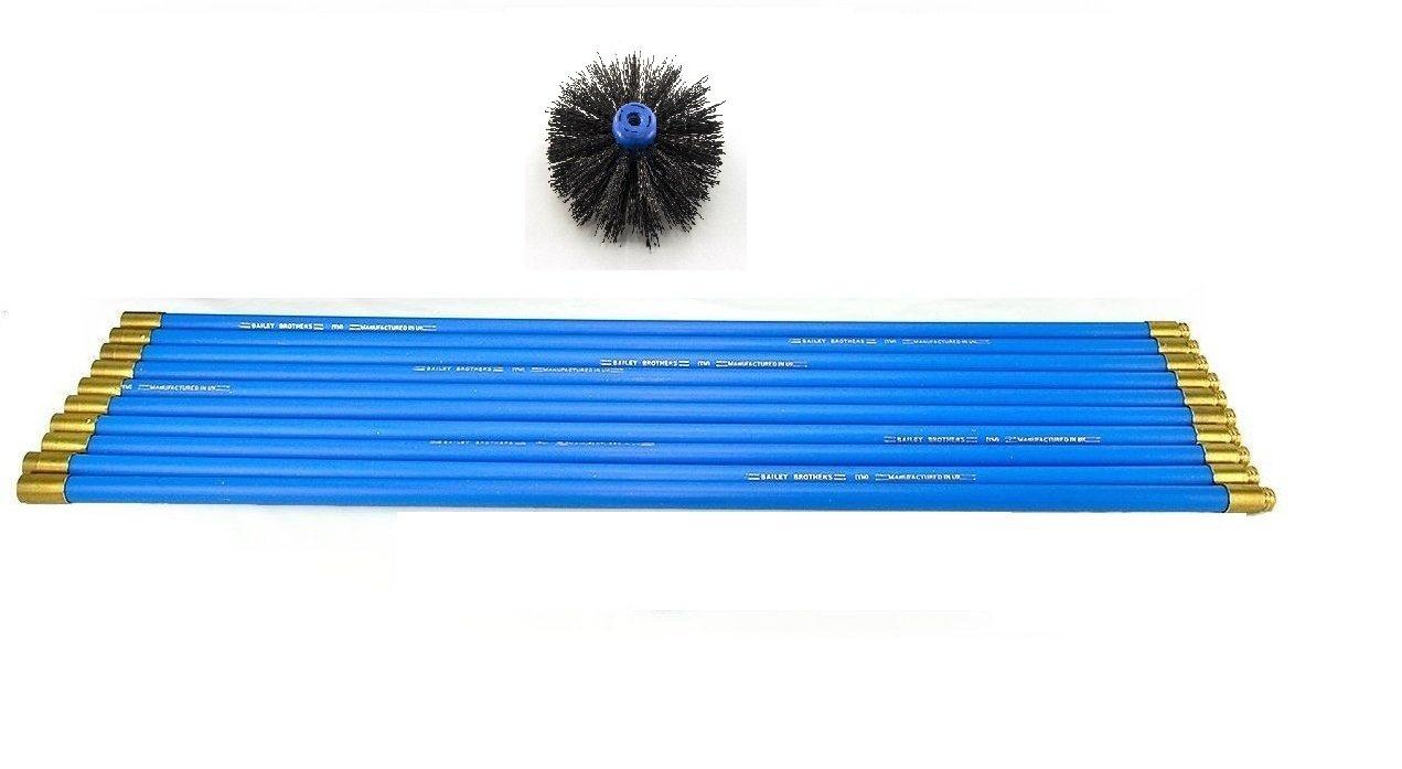 16 Brush Bailey Chimney Sweep Brush /& Rod Set 10 Rods