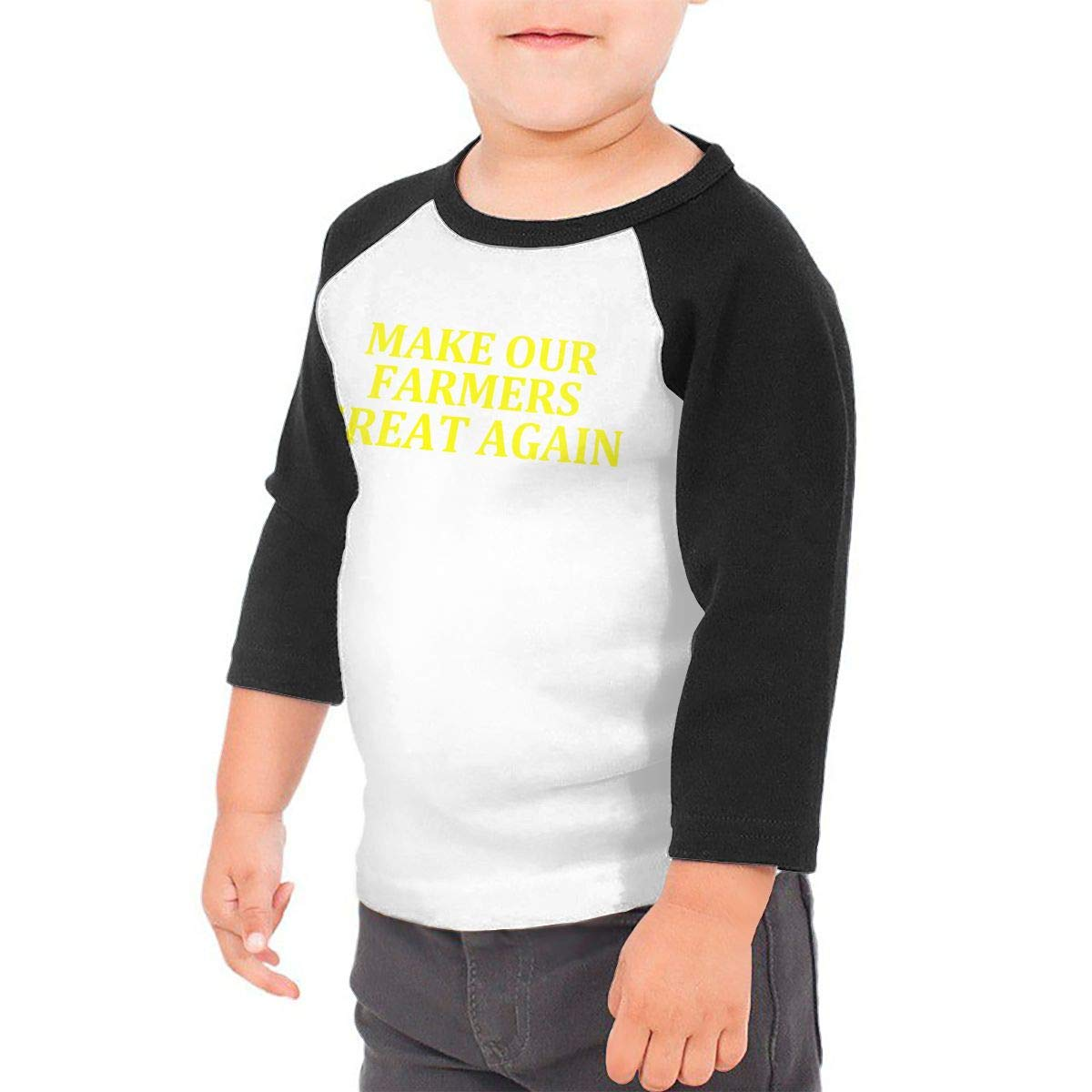 Make Our Farmers Great Again Unisex Toddler Baseball Jersey Contrast 3//4 Sleeves Tee