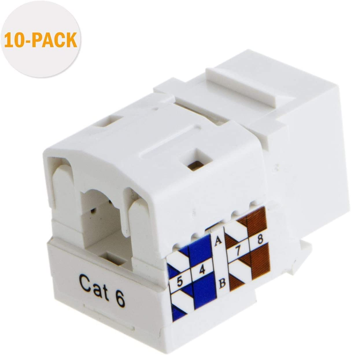 RJ45 Keystone Module Connector White Renewed CableCreation 20-Pack Cat6