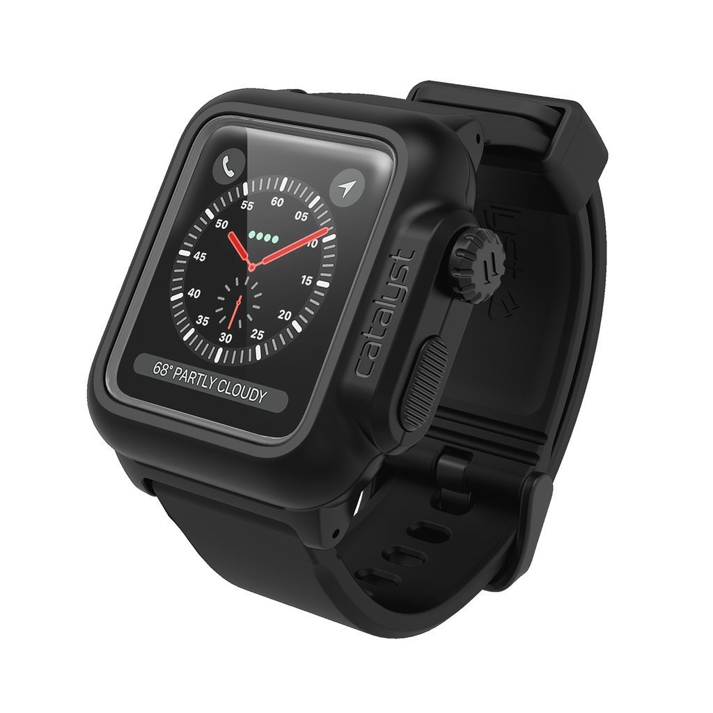 designer fashion a8c9d fc6fb Waterproof Apple Watch Case 38mm Series 3 & 2 with Premium Soft Silicone  Apple Watch Band by Catalyst, Shock Proof Impact Resistant (not Compatible  ...