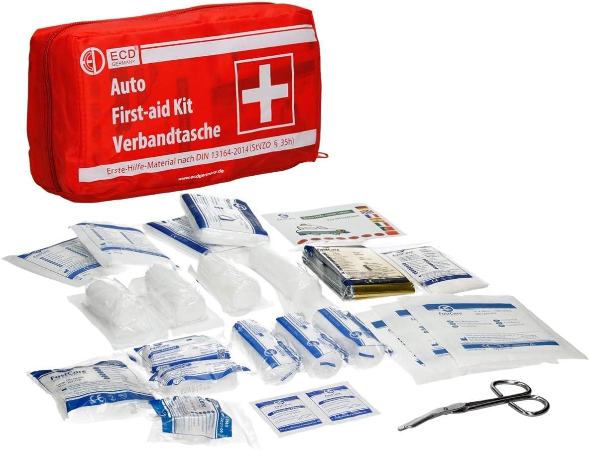 Ecd Germany Kfz Verbandtasche Inhalt Nach Din 13164 Rot Mit Rettungsdecke Ohne Klett Verbandkasten Erste Hilfe Set Baumarkt
