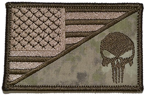 USA Flag/Punisher Skull 2.25x3.5 Morale Patch - Multiple Col