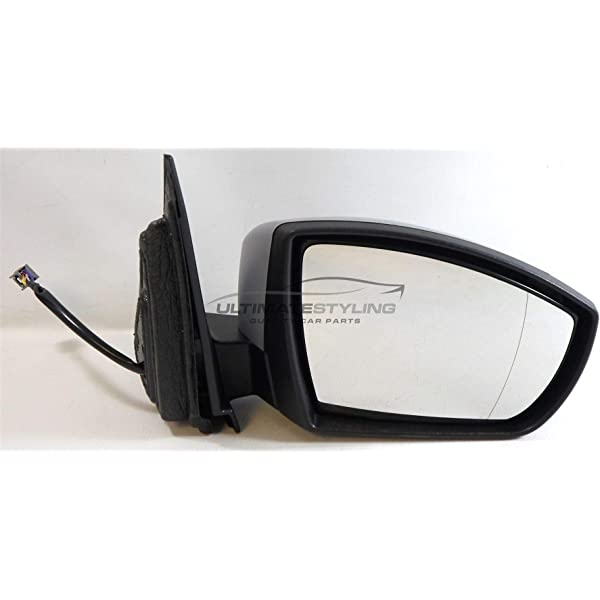Ultimate Styling Replacement Electric Power Folding Wing Door Mirror With Heated Glass With Puddle Lamp With Paintable Black Mirror Cover Cap Side Of Product Drivers Side RH