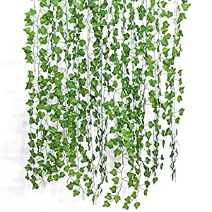 GPARK 12Pack 24Pack / Each 82 inch, Artificial Ivy Garland Fake Leaf Plants Vine, Green Flowers Hanging for Wedding Party Home Garden Kitchen Office Outdoor Greenery Wedding Wall Decoration 5