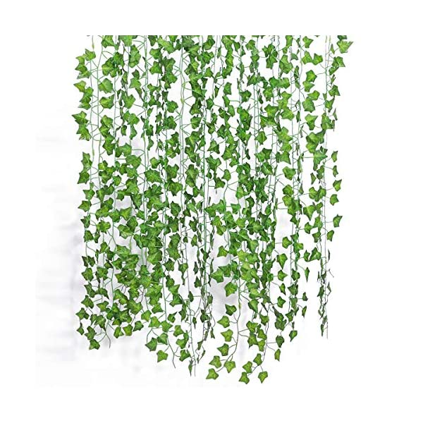 GPARK-12Pack-24Pack-Each-82-inch-Artificial-Ivy-Garland-Fake-Leaf-Plants-Vine-Green-Flowers-Hanging-for-Wedding-Party-Home-Garden-Kitchen-Office-Outdoor-Greenery-Wedding-Wall-Decoration