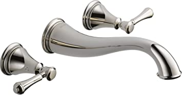 Delta Faucet 3597LF PNWL Cassidy Two Handle Wall Mount Bathroom Faucet,  Polished Nickel