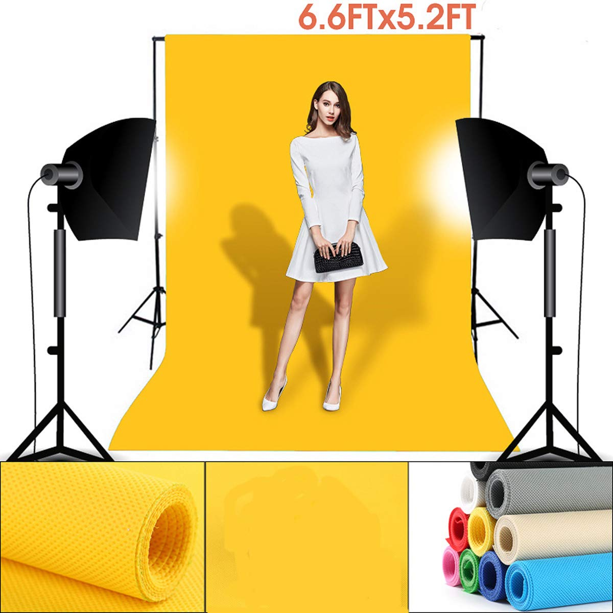 6.6ft X 5.2ft Photography Photo Background Cloth Solid Color Backgrounds for Portrait Product Photography Video Shooting White