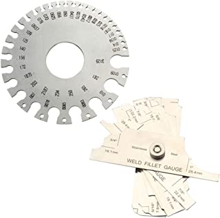 Misright Welding Taper Gage Gauge Depth Ruler Stainless Steel Set Gap Hole Inspection inch//mm