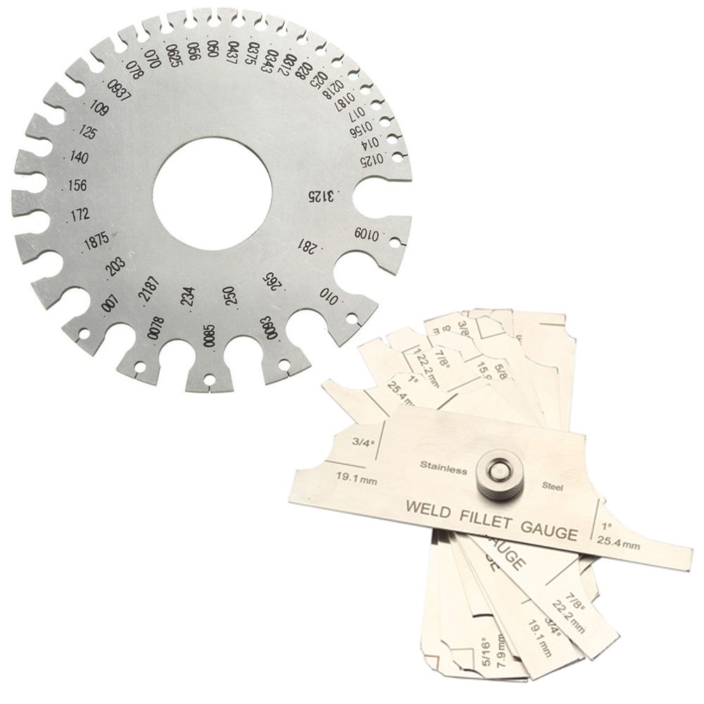 Ginode 1Pack Round AWG SWG Wire Thickness Ruler Tool Stainless Steel Wire Gauge Measure Diameter Gauge with 7PCS Fillet Weld Set Gage Rl Gauge Welding Inspection Test Ulnar Metric & Inch Measure Tool