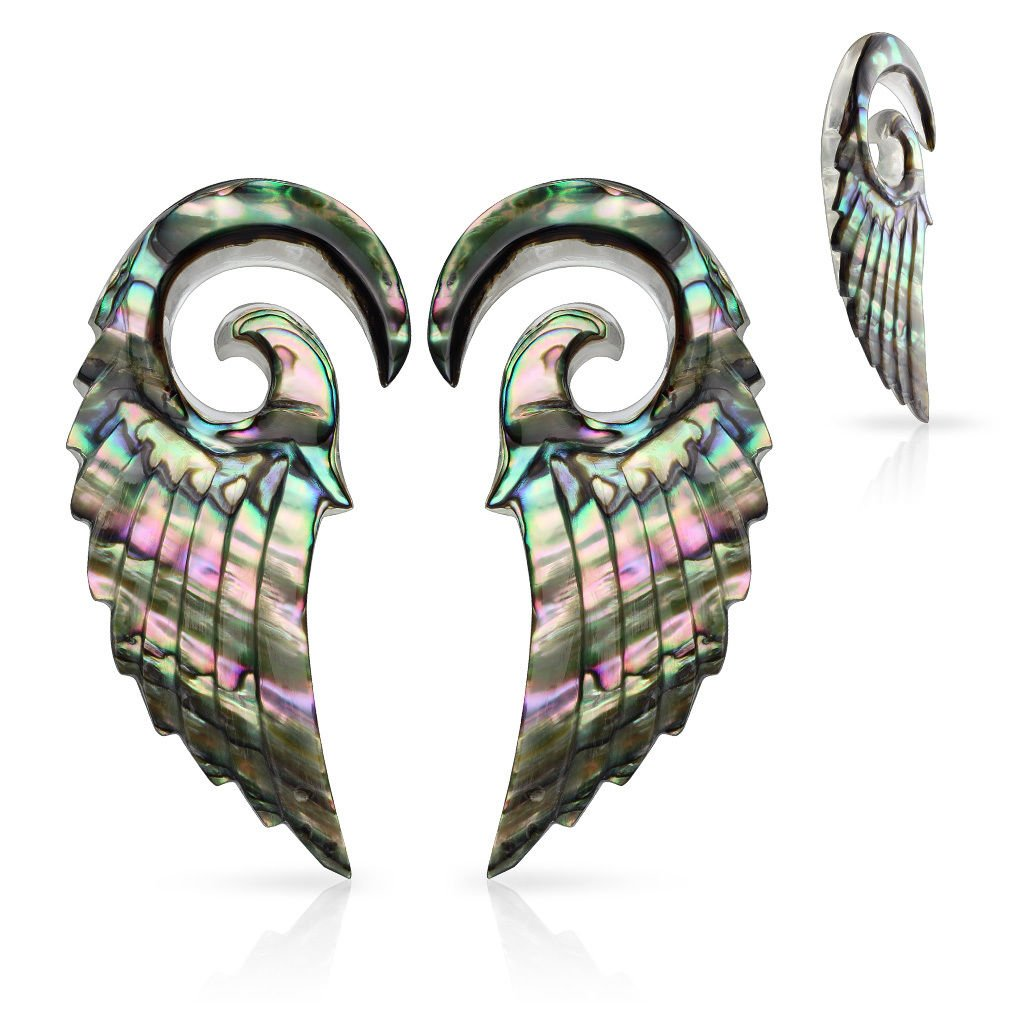 Lobal Domination PAIR of Organic Abalone Angel Wing Tapers - Plugs Expanders - Body Jewelry (6g (4mm)) by Lobal Domination