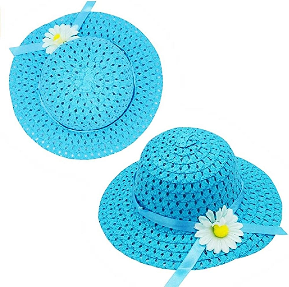 Elegante Idea Regalo Natale e Compleanno Protezione Solare Cappello da Sole Estivo Bambina Set Due Pezzi Borsetta in Paglia