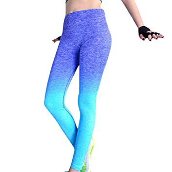 Damen Sport Hose Yoga Leggings M L Blue L Xl Amazon De Kuche