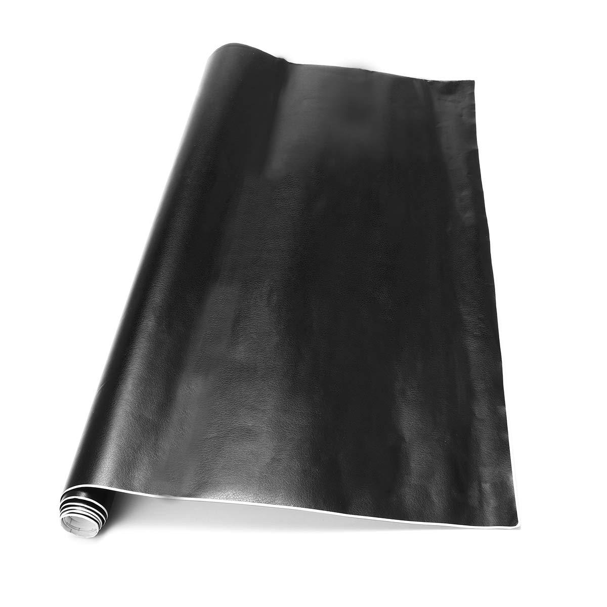 Alamor 50X100Cm Negro Coche Vinilo Pegatinas Cuero Grano PVC Interior Exterior Abrigo Calcoman/ía