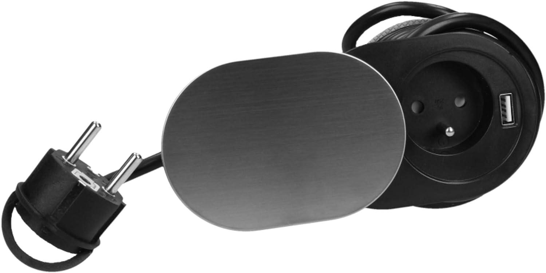 Orno AE-13124 Prise Encastrable Plan de Travail avec USB 1,9m c/âble 3680W