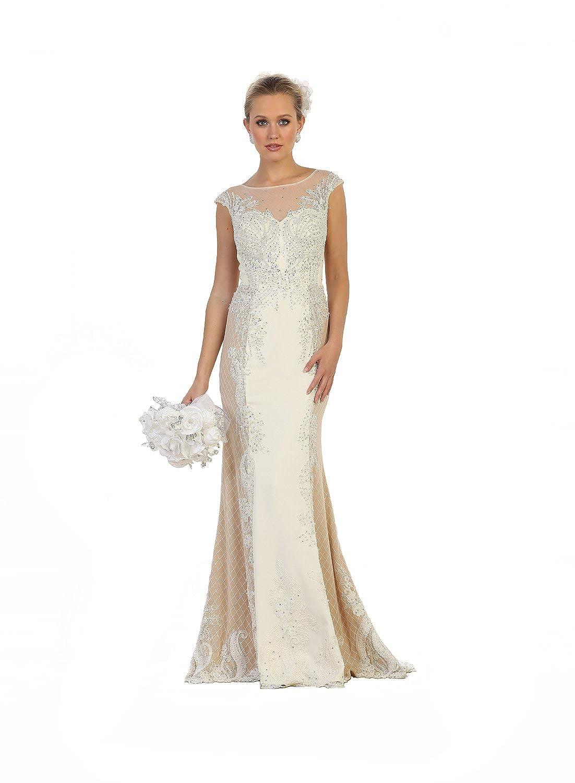 Ivory Nude US Fairytailes Cap Sleeve Embroidered Mesh Dress  27626