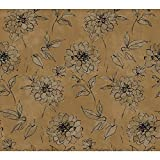 York Wallcoverings BR6217 Whisper Prints Sketched Rose Wallpaper, Bronze Pearl Metallic/Dusky Oyster/Inky Black