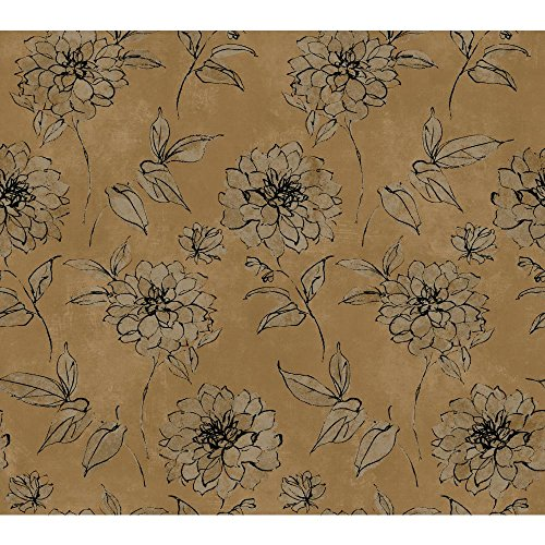 York Wallcoverings BR6217 Whisper Prints Sketched Rose Wallpaper, Bronze Pearl Metallic/Dusky Oyster/Inky Black (Floral Print Wallpaper)