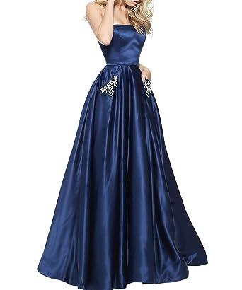 c74bb1cfe67 Women s Beaded Satin Evening Dress Strapless A-line Floor Length Formal Gowns  Navy Blue